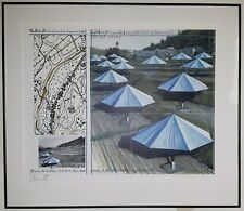 CHRISTO SIGNED LITHOGRAPH BLUE UMBRELLAS