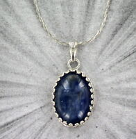 Kyanite Gemstone Cabochon Pendant Necklace in Sterling Silver Setting w Chain