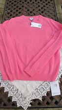 luxe new baby pink IRIS & INK 100% CASHMERE cable sleeve JUMPER -BNWT Lge uk14