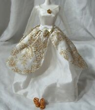Barbie White Glittery Gold Long Winter Holiday Princess Dress Gown Heel Shoes
