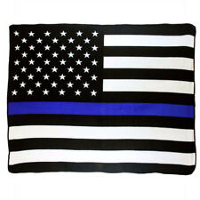 Wholesale ( 6 ) USA Thin Blue Line Police 50x60 Polar Fleece Blanket Throw Plush