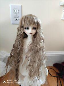 "1/4 bjd doll  7-8"" long curly  Leekeworld Junk wig light brown"
