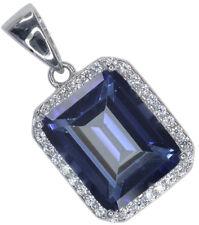 Mystic Quartz Gemstone Baguette Sparkling Sterling Silver Pendant + Chain