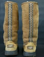 Ugg Australia Boots Women's Size 6 Tall Boot Ultimate Braid Brown Suede F8008J