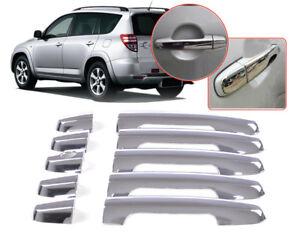 Triple Chrome Door Handle Cover Trim Fit for Toyota 5 Door RAV4 2006 2007 2008+