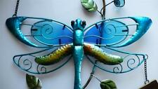 Dragonfly Bell Wind Chime Iron +Blue Fusion Glass garden fence chimes 25 In