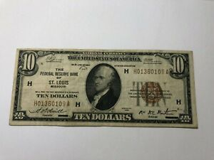 SERIES 1929 $10 FEDERAL RESERVE BANK NOTE ST. LOUIS  MO