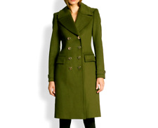Burberry - Women's Green Double-Breasted Wool Cashmere Military Coat - 31320a