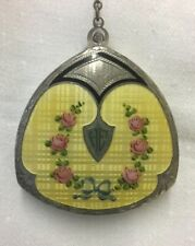 New listing Art Deco Compact Yellow Guilloche Enamel Pink Roses Finger Ring