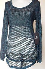 NWT Rock & Republic Crochet Metallic Black Blue Pullover Sweater Sexy Hot SMALL