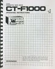 Pioneer Model CT-F1000 Cassette Tape Deck Owners Manual