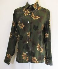 La Cabana All Night Long Women's Size M Button Down Shirt Olive Green Floral