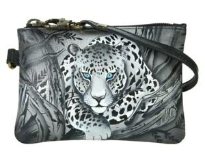 Anuschka Hand-Painted Leather Zip-Top Coin Purse-African Leopard-NWT-Orig. $52.5