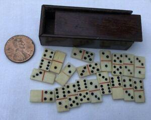 Antique Carved Bone Miniature Dominos & Walnut Slide Cover Box