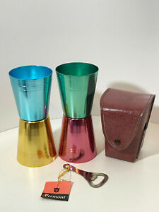 Vermont vintage retro anodised cups x4 with bottle opener, case and original box