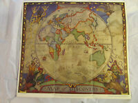 1928 Map of Discovery Eastern Hemisphere National Geographic N.C. Wyeth