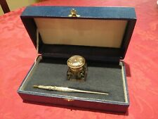 Old glass ink container marked silver + silver pen in box