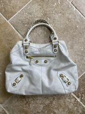BALENCIAGA bag- White- Leather With Gold Detail Used Condition