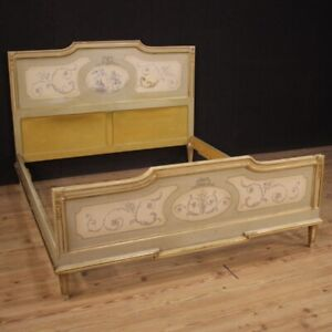 Double Bed Venetian IN Antique Style Louis XVI Furniture Wood Painting 900