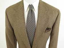 Polo Ralph Lauren Wool Alpaca Brown Houndstooth Blazer Sport Coat 44 Tall EUC
