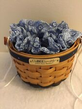 New Longaberger Rare Retired 2000 Bee Basket Set - Jewelry Pouch Liner