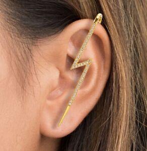 1 or 2 Gold Cuff Lightning Bolt Diamante Earrings Wrap Hook for Pierced Ears E34