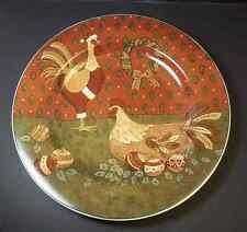 "Holiday Cheer salad plate Warren Kimble Sakura Rooster Hen 8.25"" disc  Christmas"