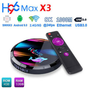 H96 Max X3 4GB+32GB S905X3 Quad Core Android 9.0 TV Box 8K 5G WiFi HD Media