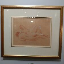 LEON KROLL Conte Crayon Drawing of Two Female Nudes Gold Gilt Frame