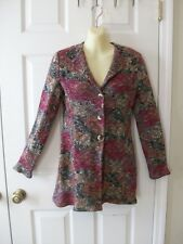 Pretty Talbots Long Multicolor Cardigan Sweater coat~Thick Knit~Warm~S