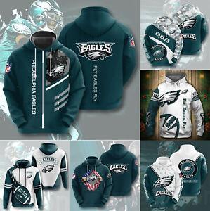 Philadelphia Eagles Footbball Hoodie Hooded Sweatshirt Active Pullover Jacket