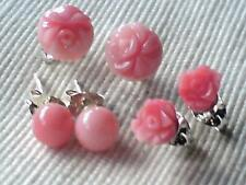 STERLING SILVER CORAL STUD EARRINGS IN 3 DESIGNS,ROSE,DAISY&PLAIN £7.50 each NWT