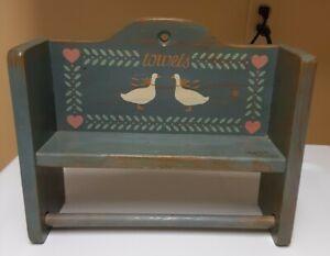 "Vintage Wooden Paper Towel Holder Wall Mount Blue w/ Ducks 4.5"" x 13.5"" x 11"""