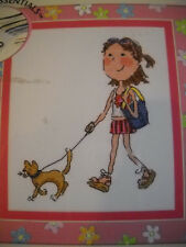 So Girly Walking the Cat Counted Cross Stitch Kit by Bucilla #43931