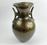 Japanese Porcelain Crystalline Glaze Vase Green Red Gold Vintage Studio Art