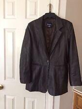 Women's DENIM & CO. Brown 100% Leather Blazer Jacket Size M