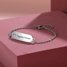 Custom Silver Name Bracelet Free Engraved Charm Bangle Jewelry Gift For Women