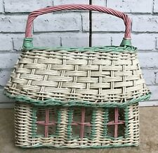 Vintage Country Cottage Shape Shopping Basket Handle Square White Pink Green