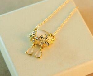 Womens 9k Yellow Glod Filled AAA CZ Opal Necklace & Pendant
