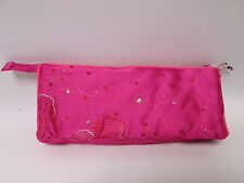Pink Beaded Cosmetic Makeup Bag Pencil Pen Brush Case Storage Pouch Purse #1F9