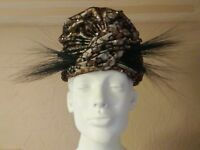 """60's """"CHRISTIAN DIOR Chapeaux"""" Ivory/Gold Lace/Rhinstones/Black Plumes Turban"""