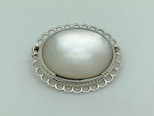 Gorgeous Vintage Sterling Silver Mother of Pearl Oval Cabochon Ornate Brooch