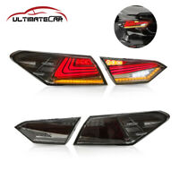 Pair LH+RH Smoked LED Tail Lights Rear Lamps For 2018 2019 Toyota Camry Modifiy