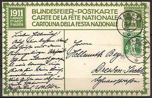 Schweiz 1911 Bundesf.Ganzsachen Postkarte  P 44 ! - 5 C grün Tell, Tarasp- Dresd