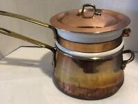 Vintage Copper & Brass Double Boiler/Bain Marie 2 Quart Ceramic Insert Pot Korea