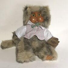 "Vintage Sidney  Original Robert Raikes Cat Wood Face With Box Applause 12"" Tall"