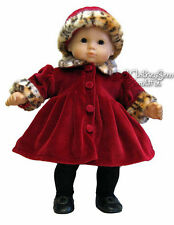 Adorable Burgundy Velour Coat & Hat fits Bitty Baby Doll Clothes Leopard Trim