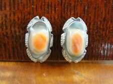 Vintage Orange and White Oval Shell Sterling Silver 925 Screw Back Earrings