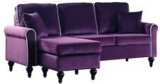 Classic Traditional Small Space Velvet Sectional Sofa, Reversible Chaise, Purple