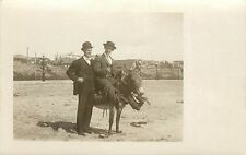 1908 Real Photo Postcard 2 Men in Suits on Beach w Donkey, Long Beach CA Posted